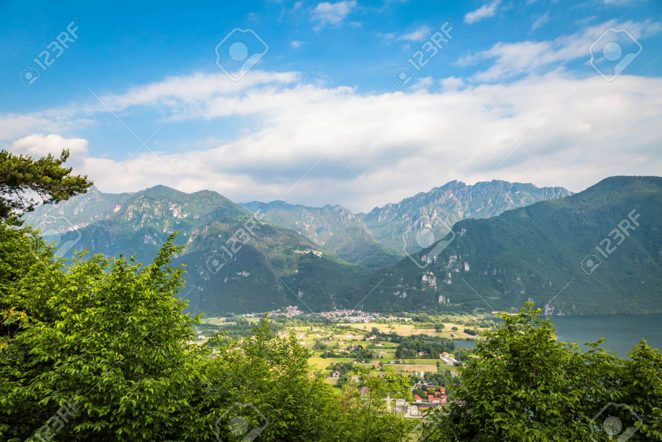 natural landscape with green mountain peaks in summer - 171980381