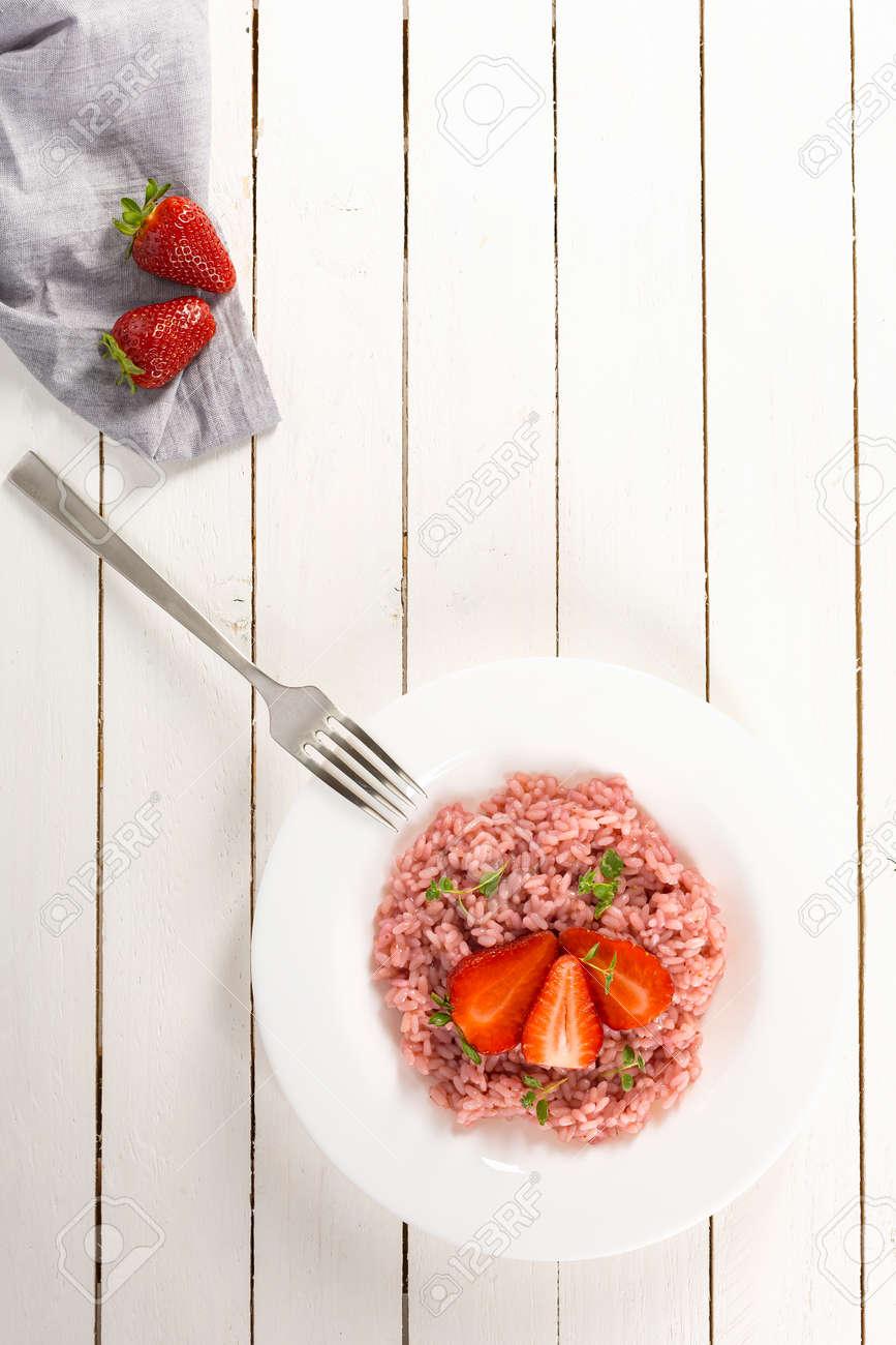 Fresh strawberry risotto a delicate and elegant dish - 171640793
