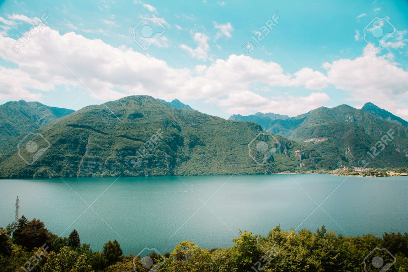 natural landscape with green mountain peaks in summer - 173342450