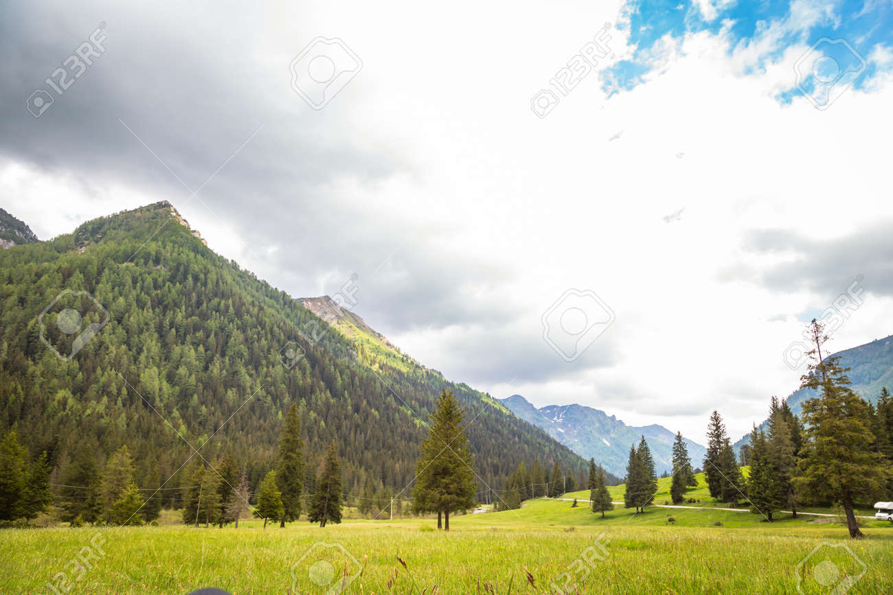 natural landscape with green mountain peaks in summer - 173342453