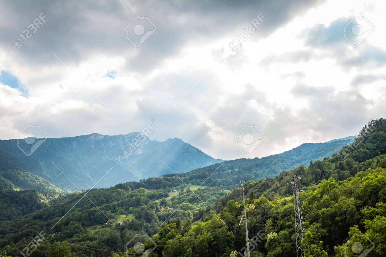 natural landscape with green mountain peaks in summer - 172289587