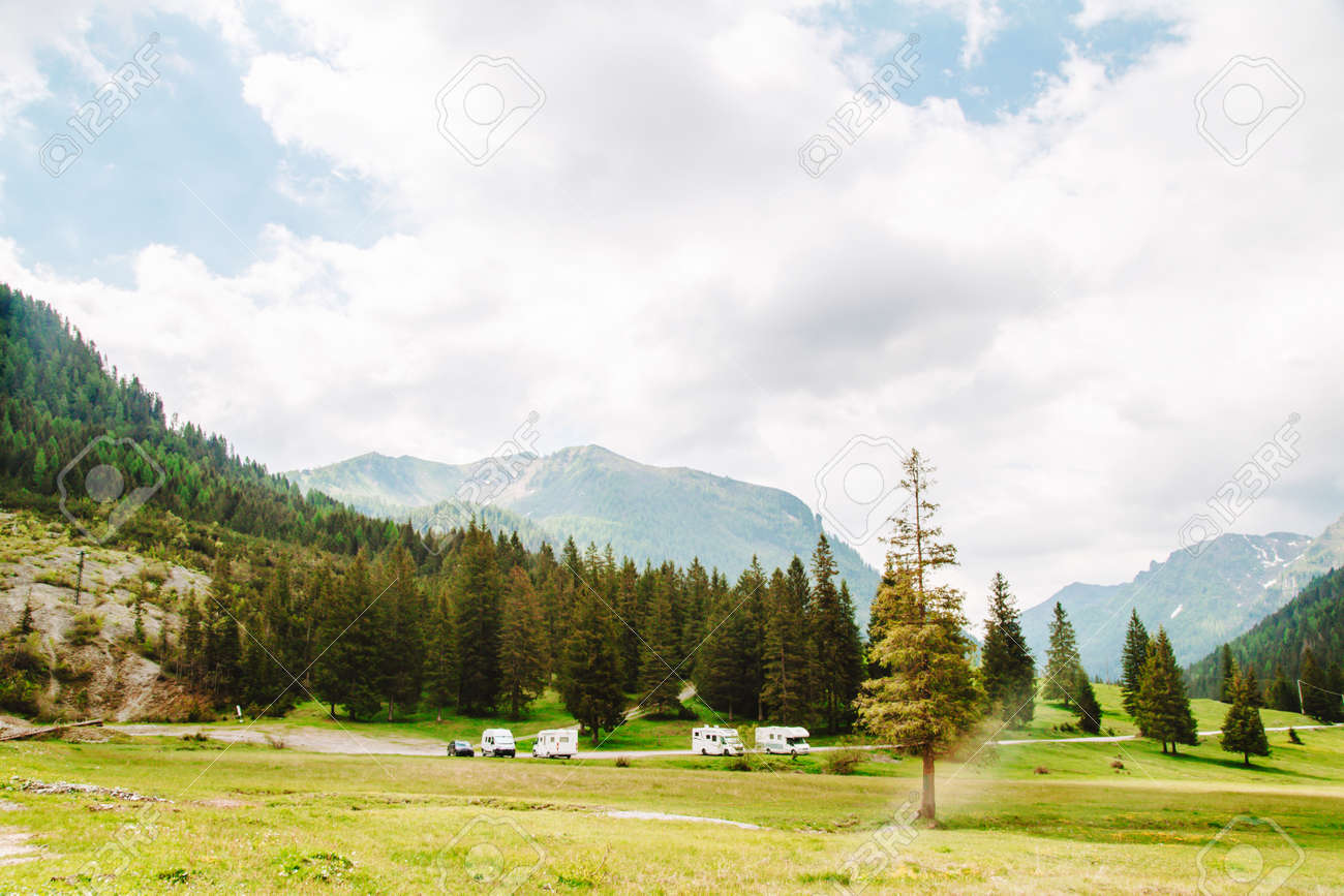 natural landscape with green mountain peaks in summer - 172906007