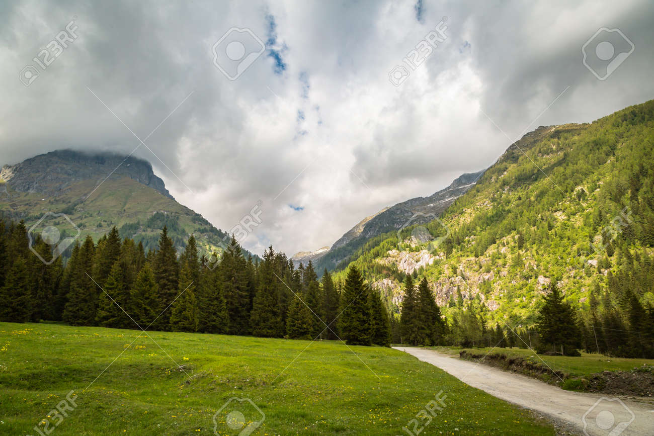 Panoramic natural landscapes. Wide-open spaces. Bagolino, Gaver locality, Valle Sabbia, Lombardy region in Italy. - 173342493