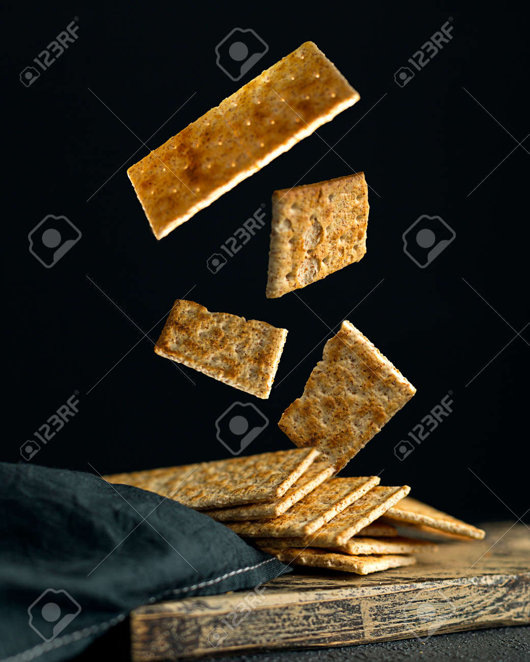 Creative concept with falling food on black backdrop - 173342495