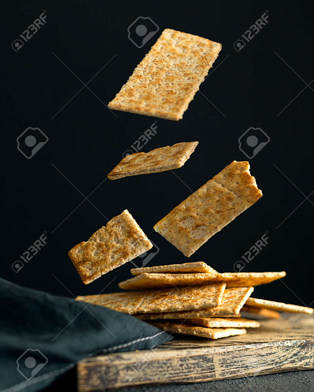 Creative concept with falling food on black backdrop - 173342519