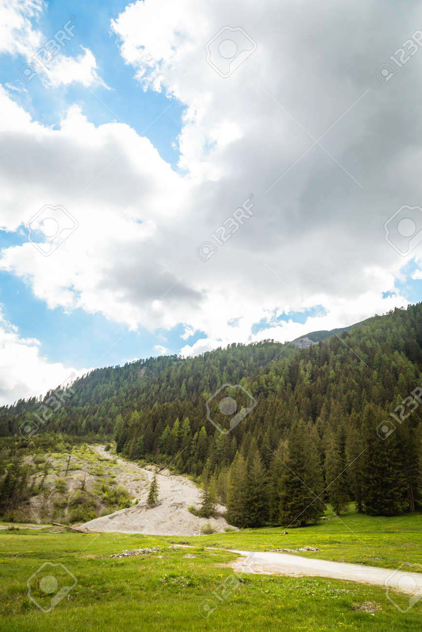 Landscape with green mountain peaks in summer - 173342532