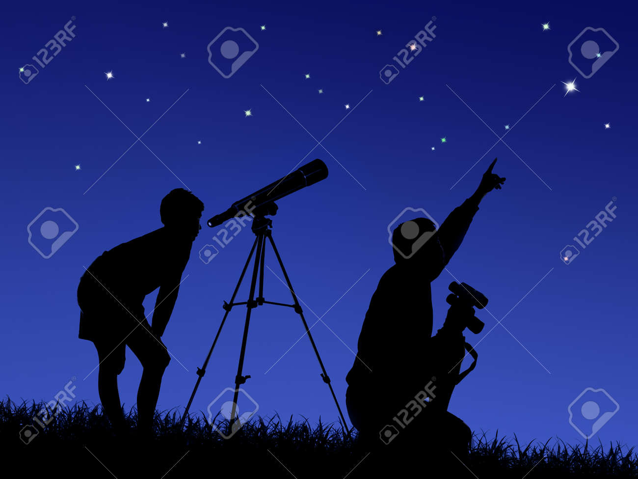 father and son study the starry sky through a telescope on the lawn - 122796799