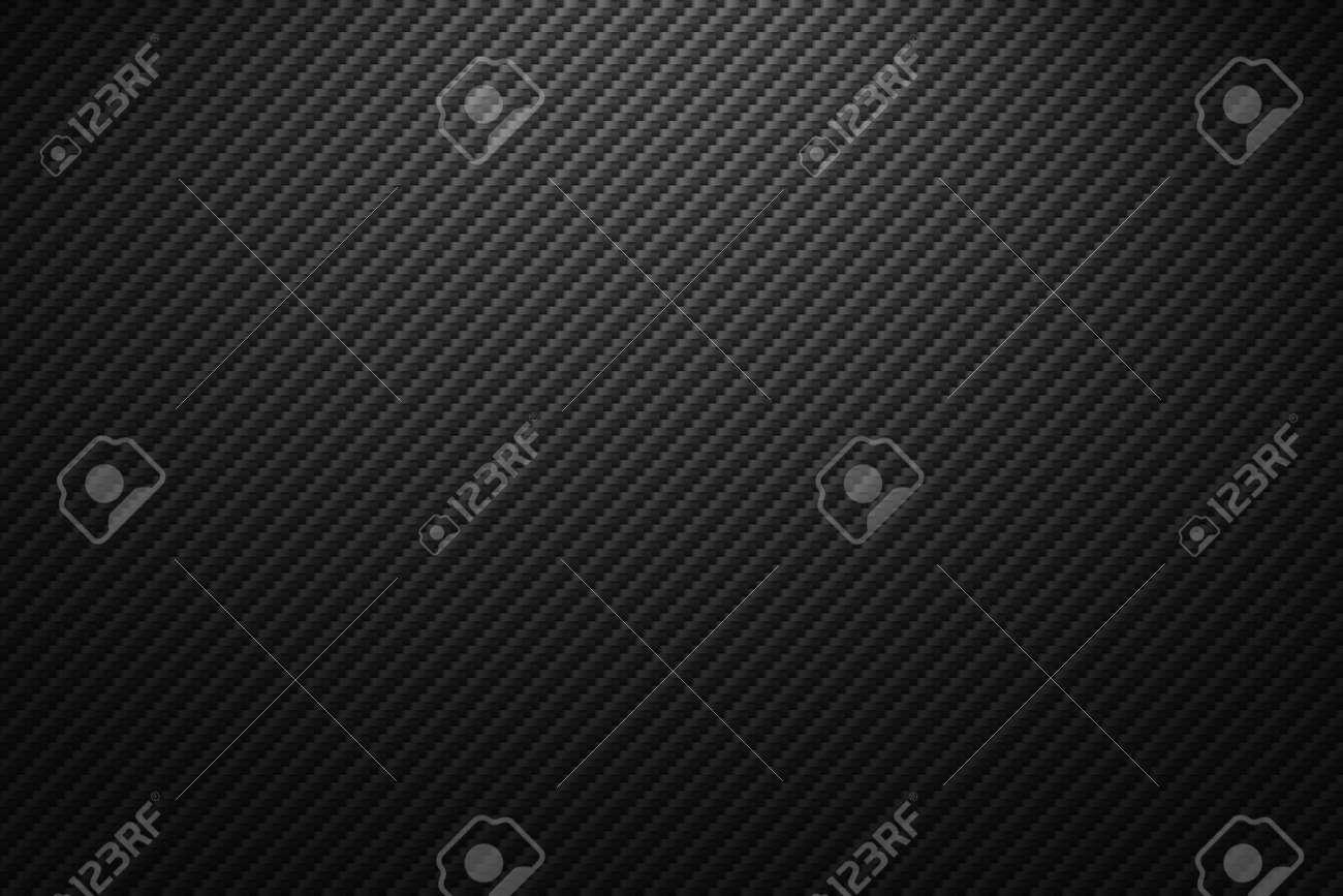 Vector carbon fiber texture. Dark background with lighting. - 110267322