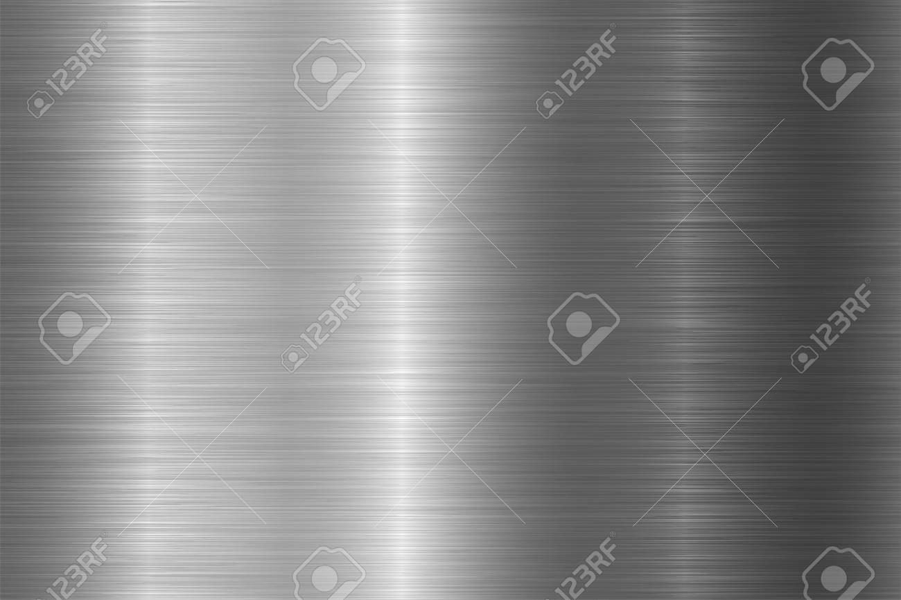 Seamless brushed metal texture. Vector steel background with scratches. - 125315457