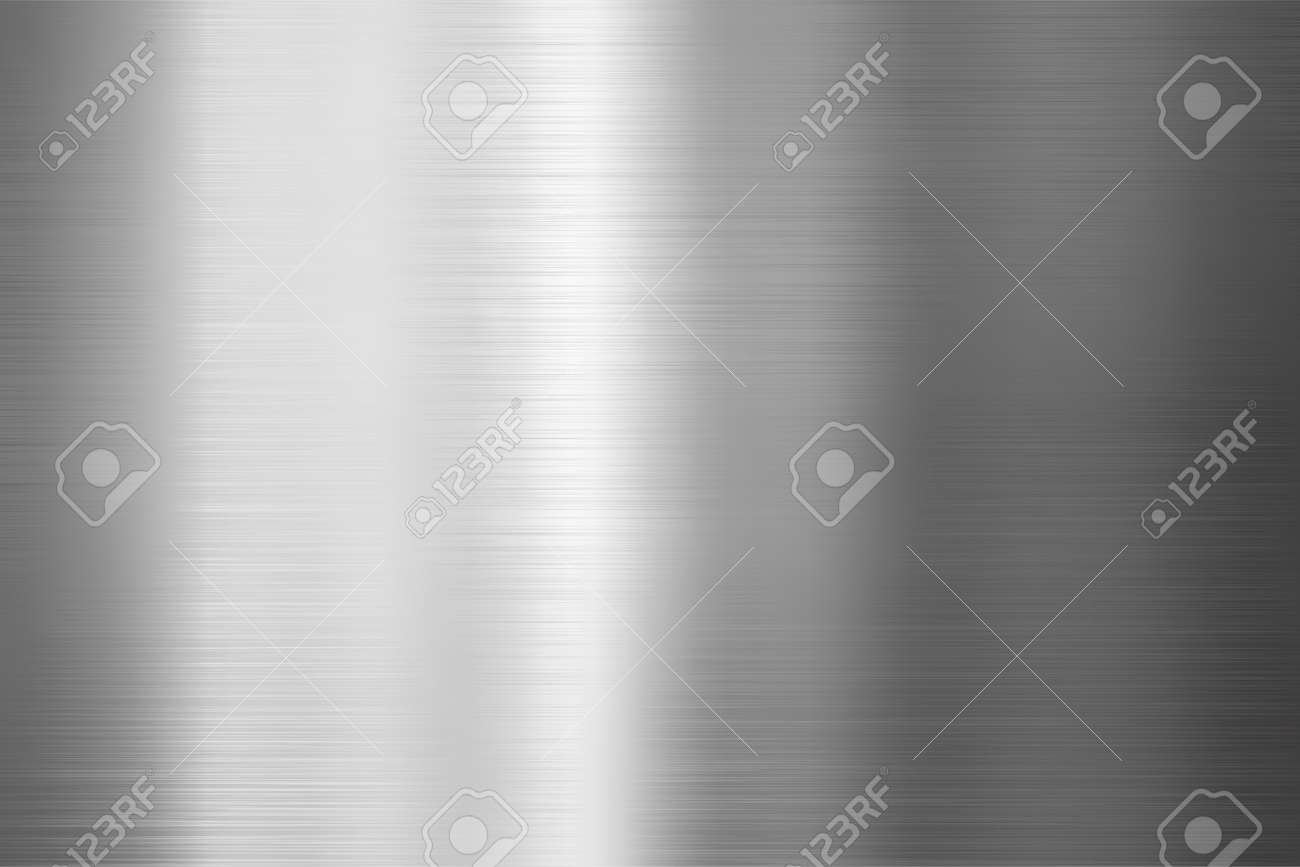 Brushed metal texture. Vector steel background with scratches. - 124158598