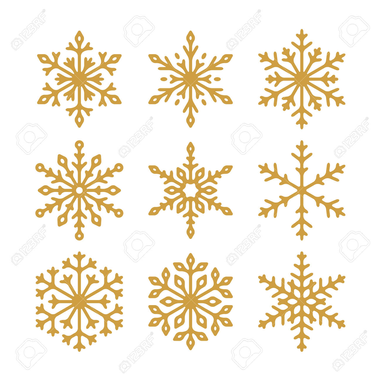 Set of vector golden snowflakes icons. Collection of illustration for your design. - 138030660