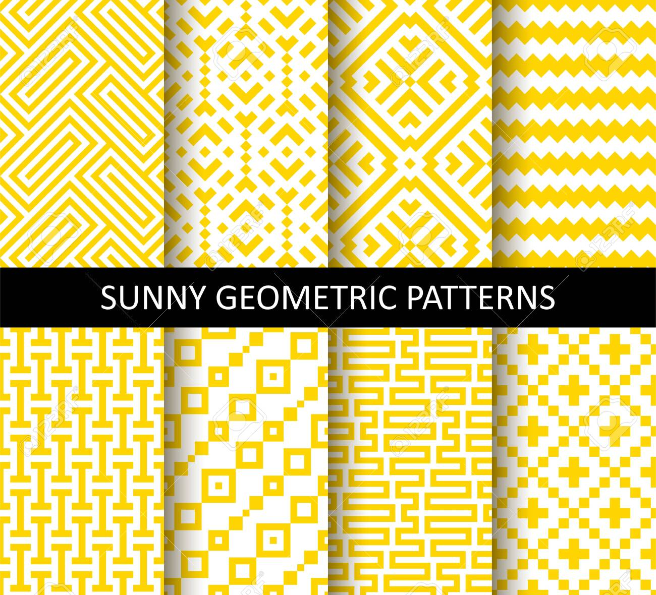 Vector set of yellow ornamental seamless patterns. Collection of geometric modern patterns. Patterns added to the swatch panel. - 145208413