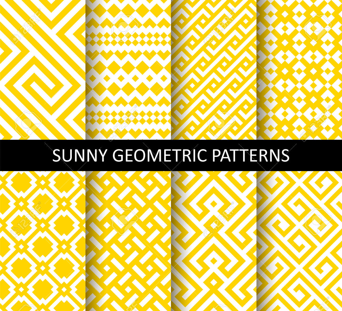 Vector set of yellow ornamental seamless patterns. Collection of geometric modern patterns. Patterns added to the swatch panel. - 145208411