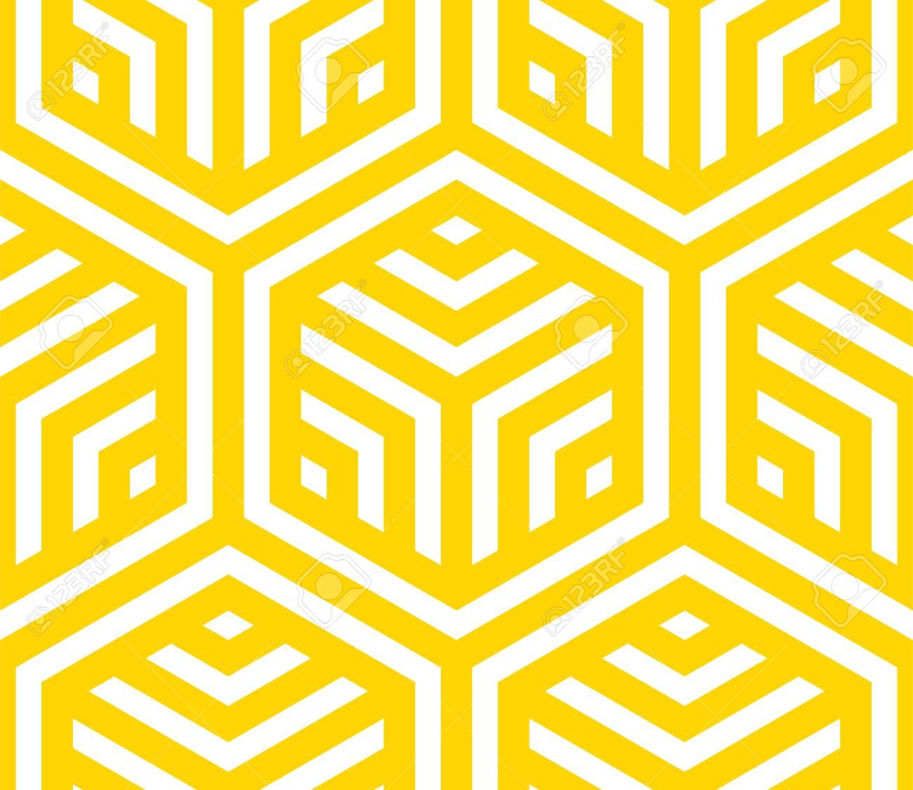Seamless geometric pattern. Vector hexagonal yellow pattern. - 145208421