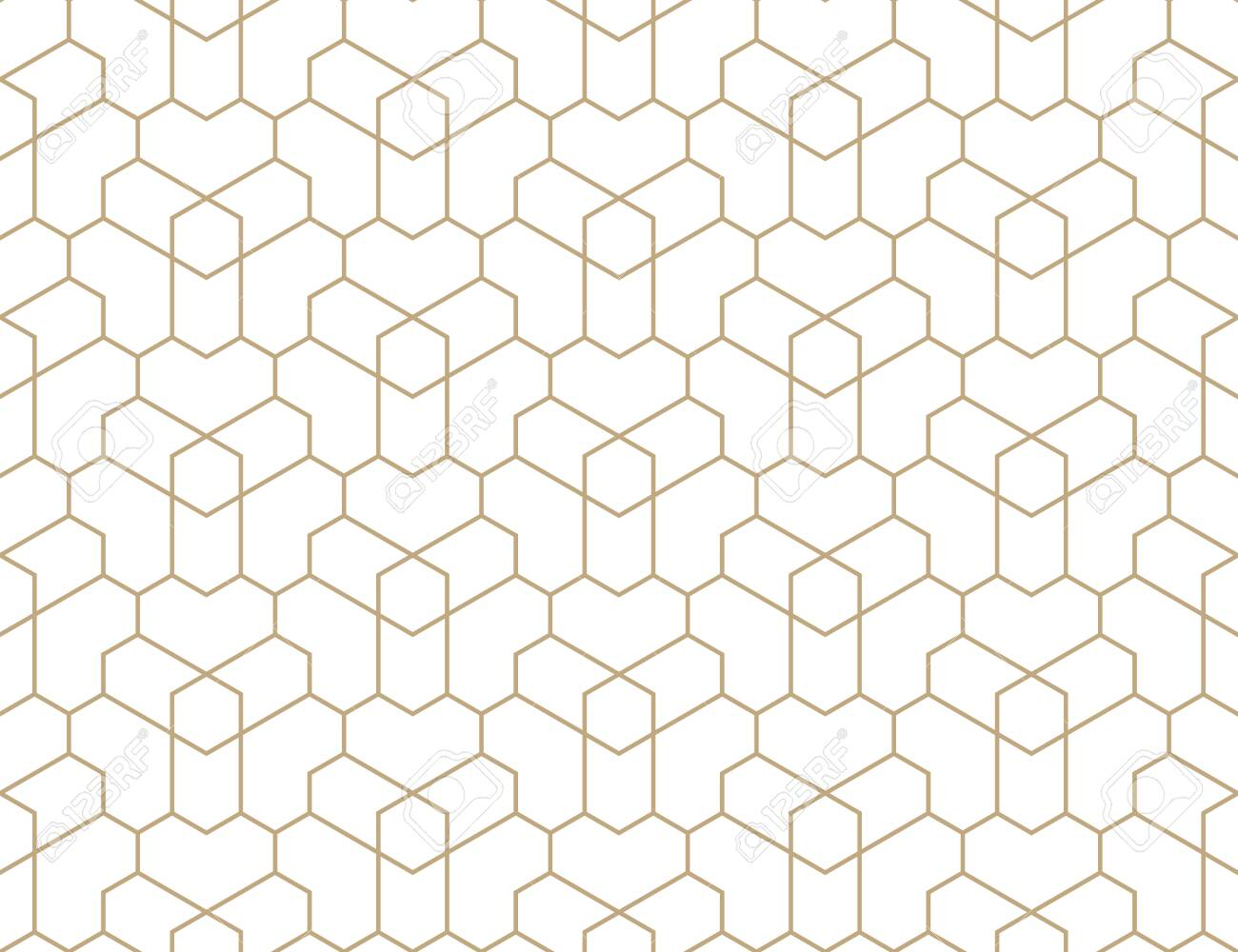 Seamless geometric gold pattern. Vector modern linear texture. - 145208425
