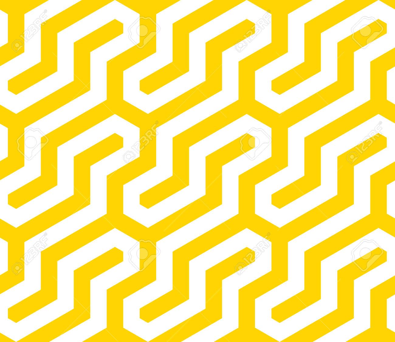 Vector yellow geometric pattern. Seamless modern linear texture. - 145855242