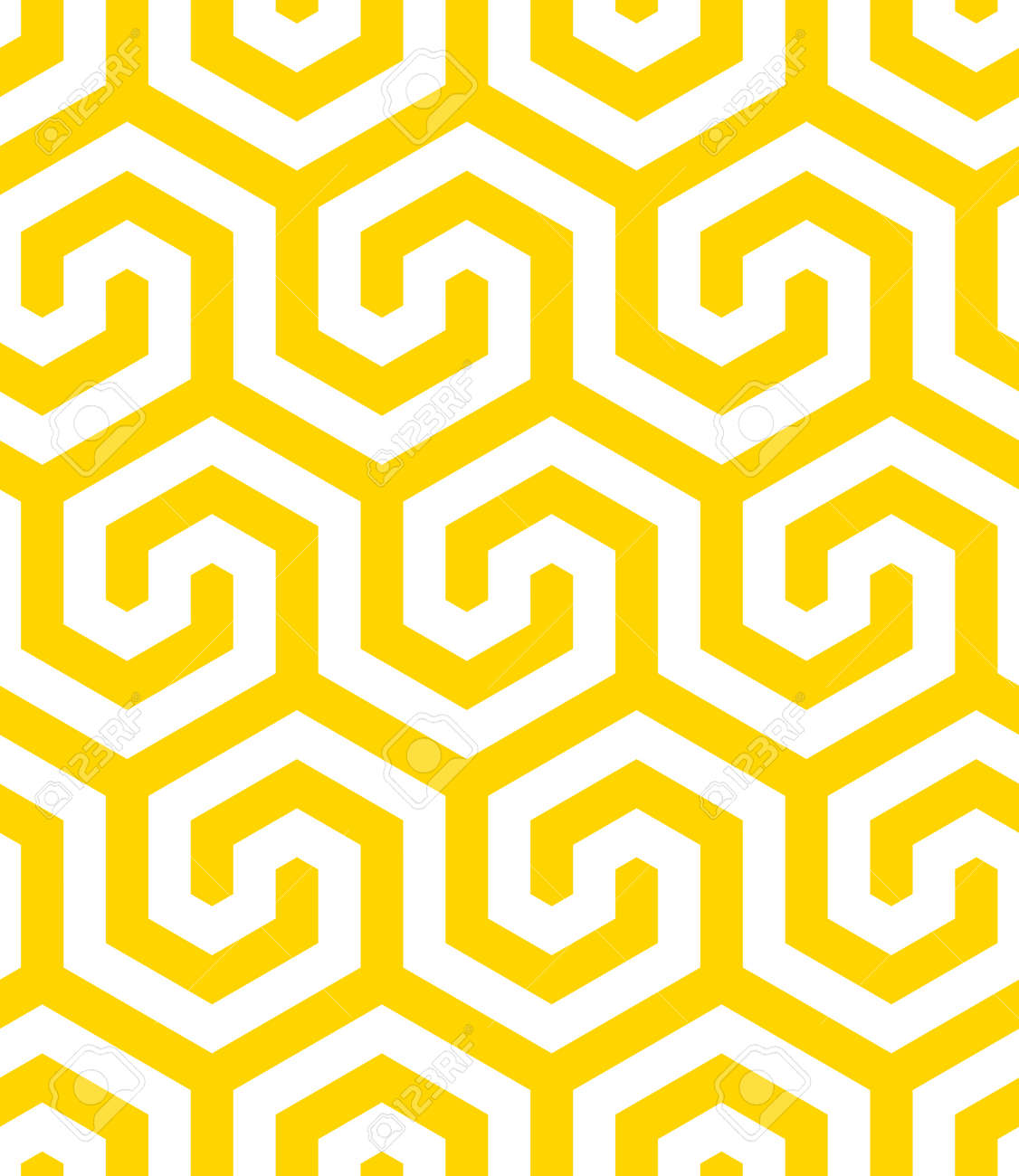 Vector yellow geometric pattern. Seamless modern linear texture. - 145855246