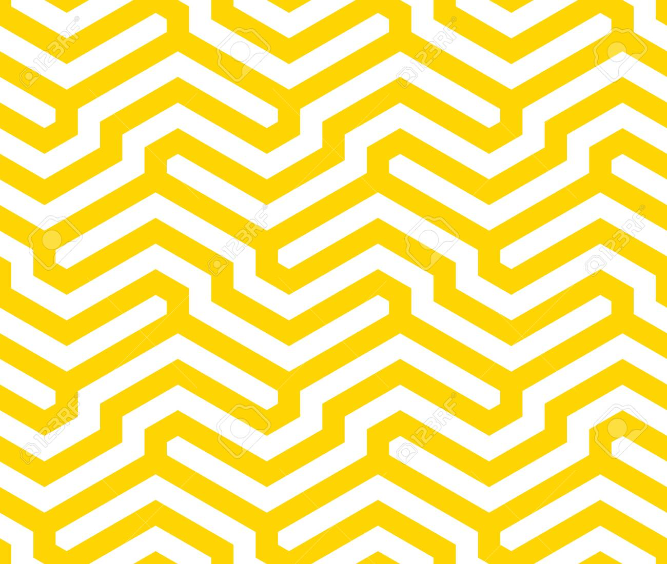 Vector yellow geometric pattern. Seamless modern linear texture. - 145855256