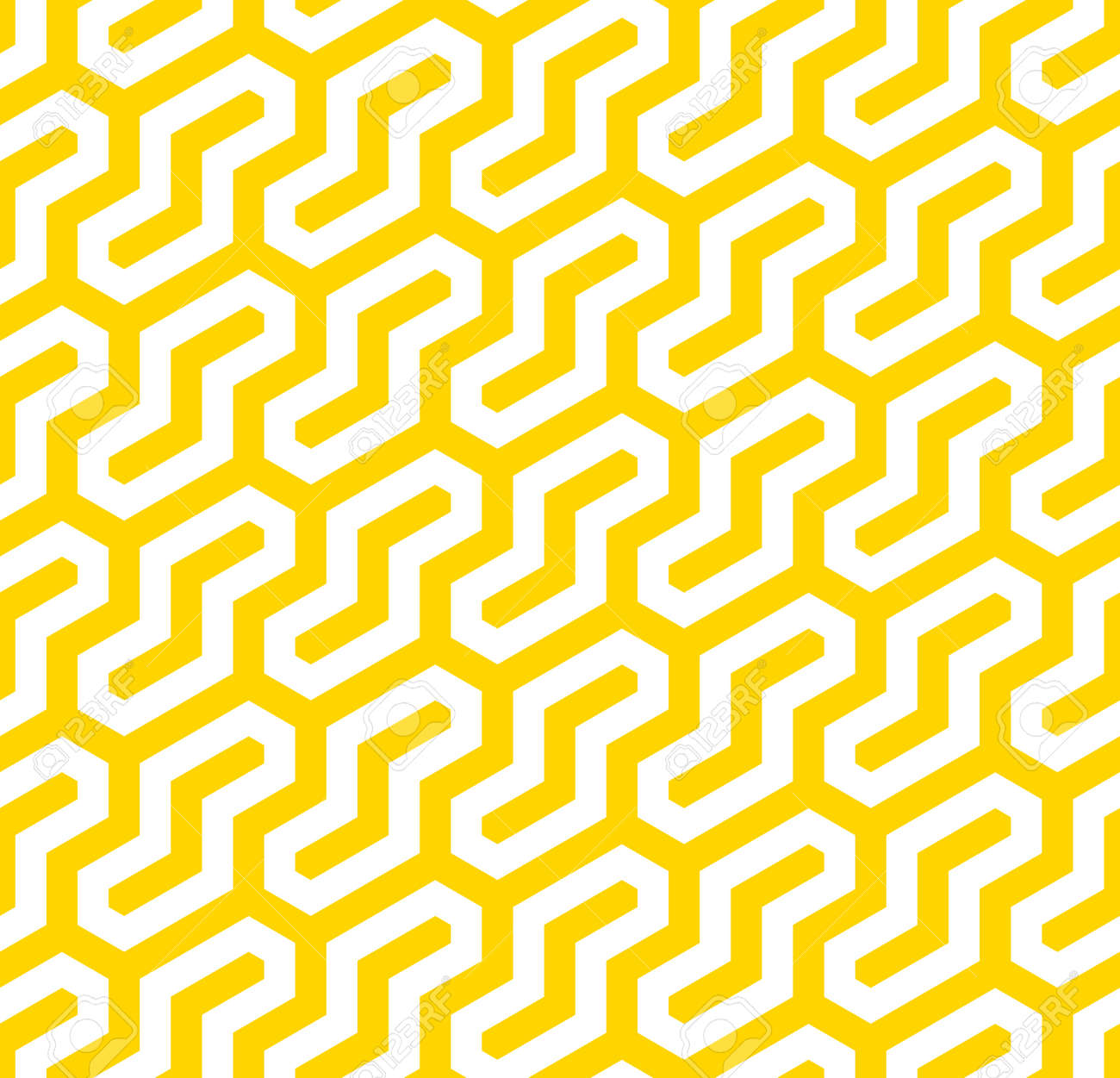 Vector yellow geometric pattern. Seamless modern linear texture. - 145855255