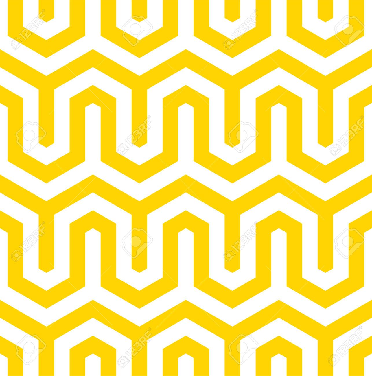 Vector yellow geometric pattern. Seamless modern linear texture. - 145855254