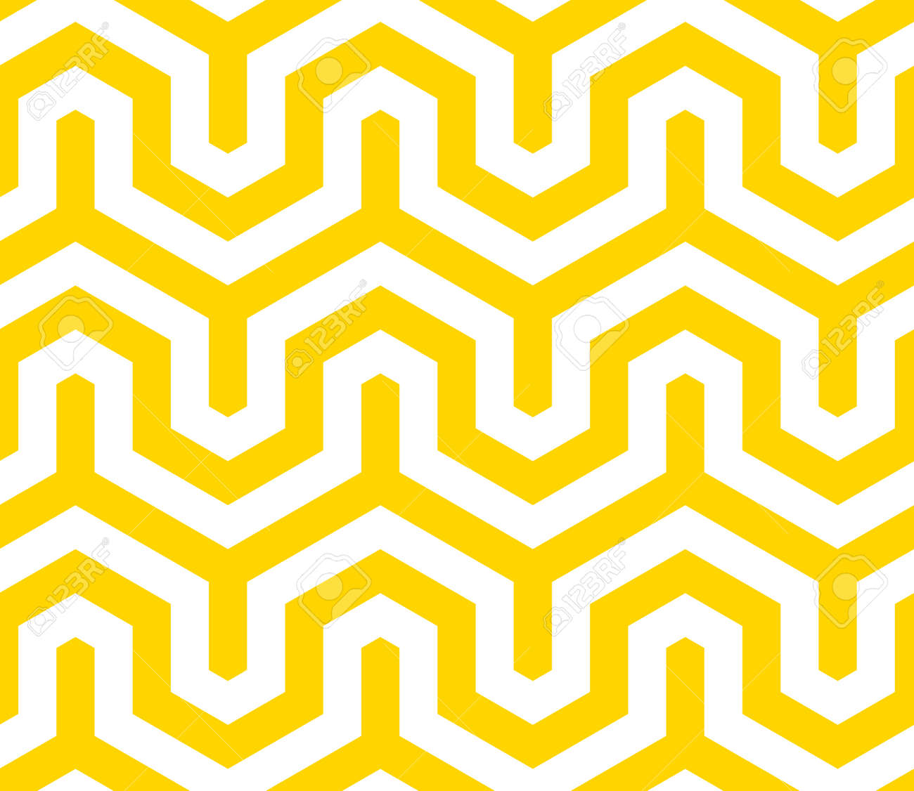 Vector yellow geometric pattern. Seamless modern linear texture. - 145855259