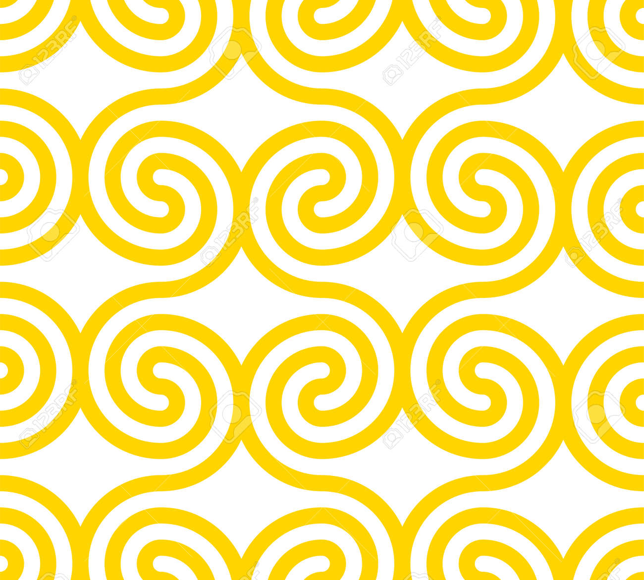 Vector yellow geometric pattern. Seamless pattern with rounded shapes. - 146471814