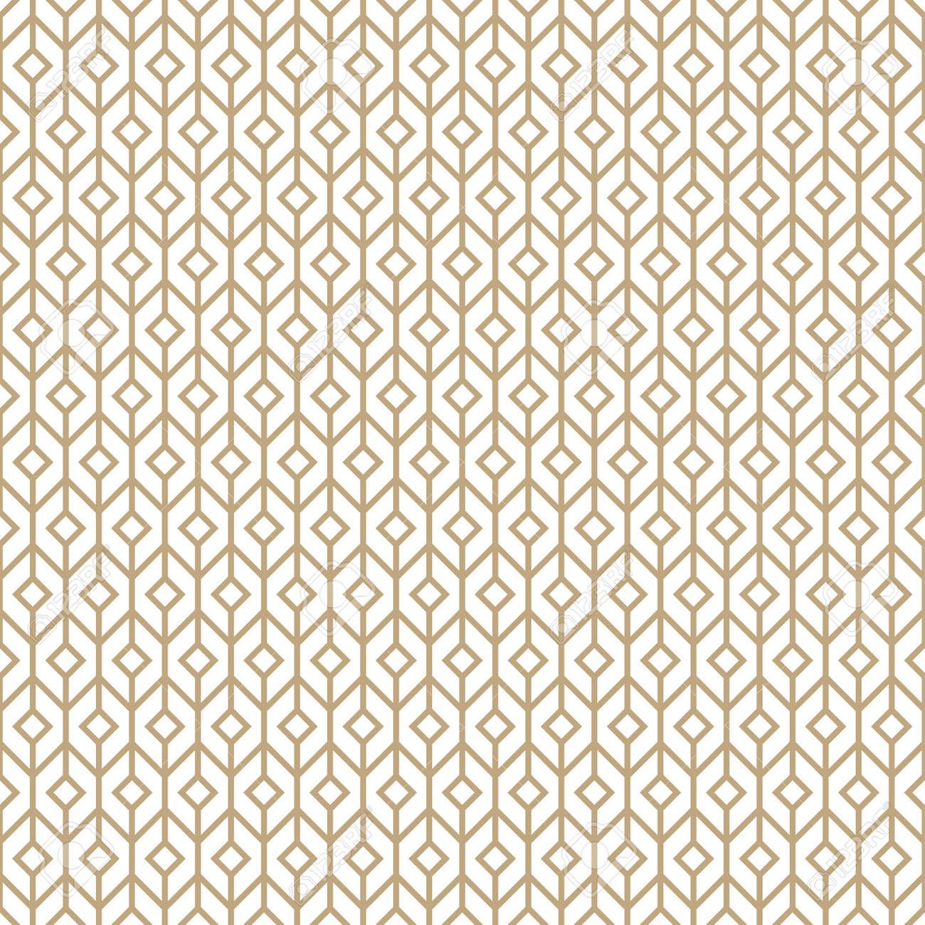 Seamless simple gold geometric pattern. Vector linear modern texture. - 151009239