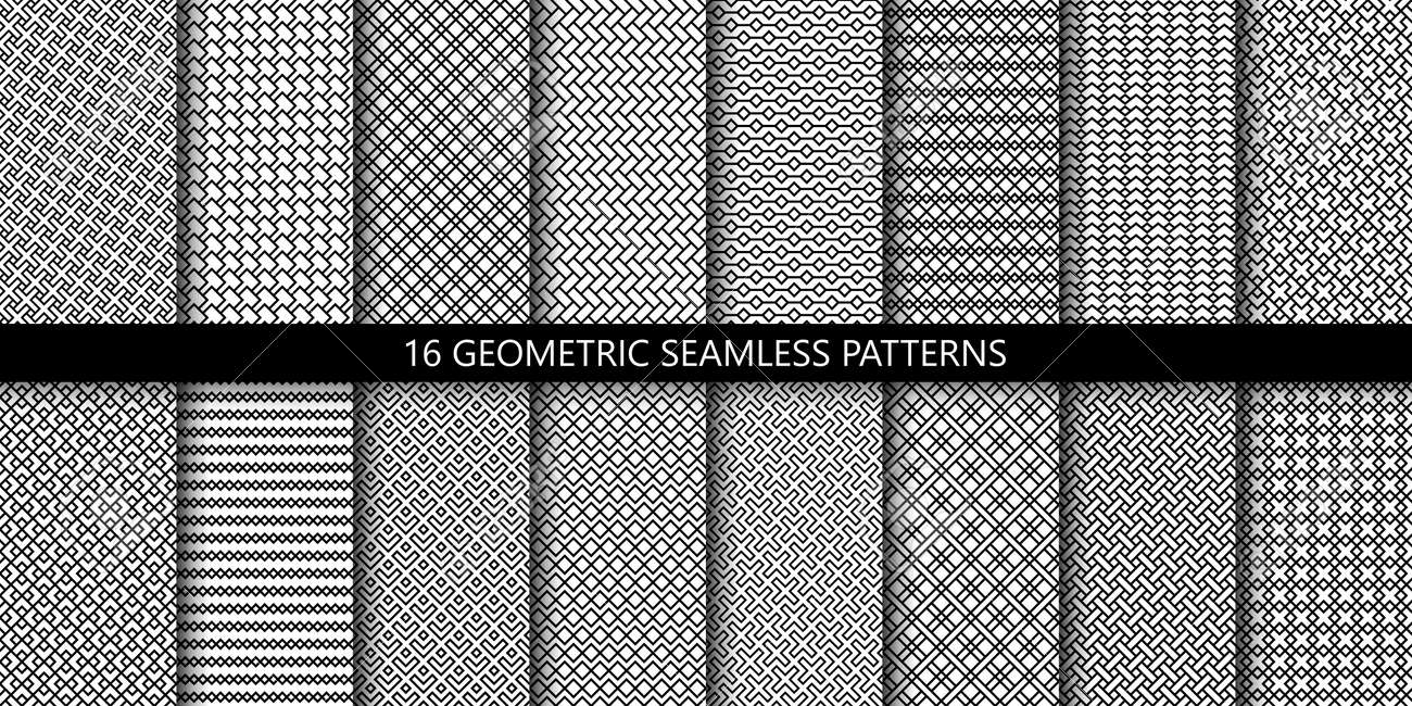 Vector set of linear ornamental seamless patterns. Collection of simple geometric modern patterns. Patterns added to the swatch panel. - 151009450