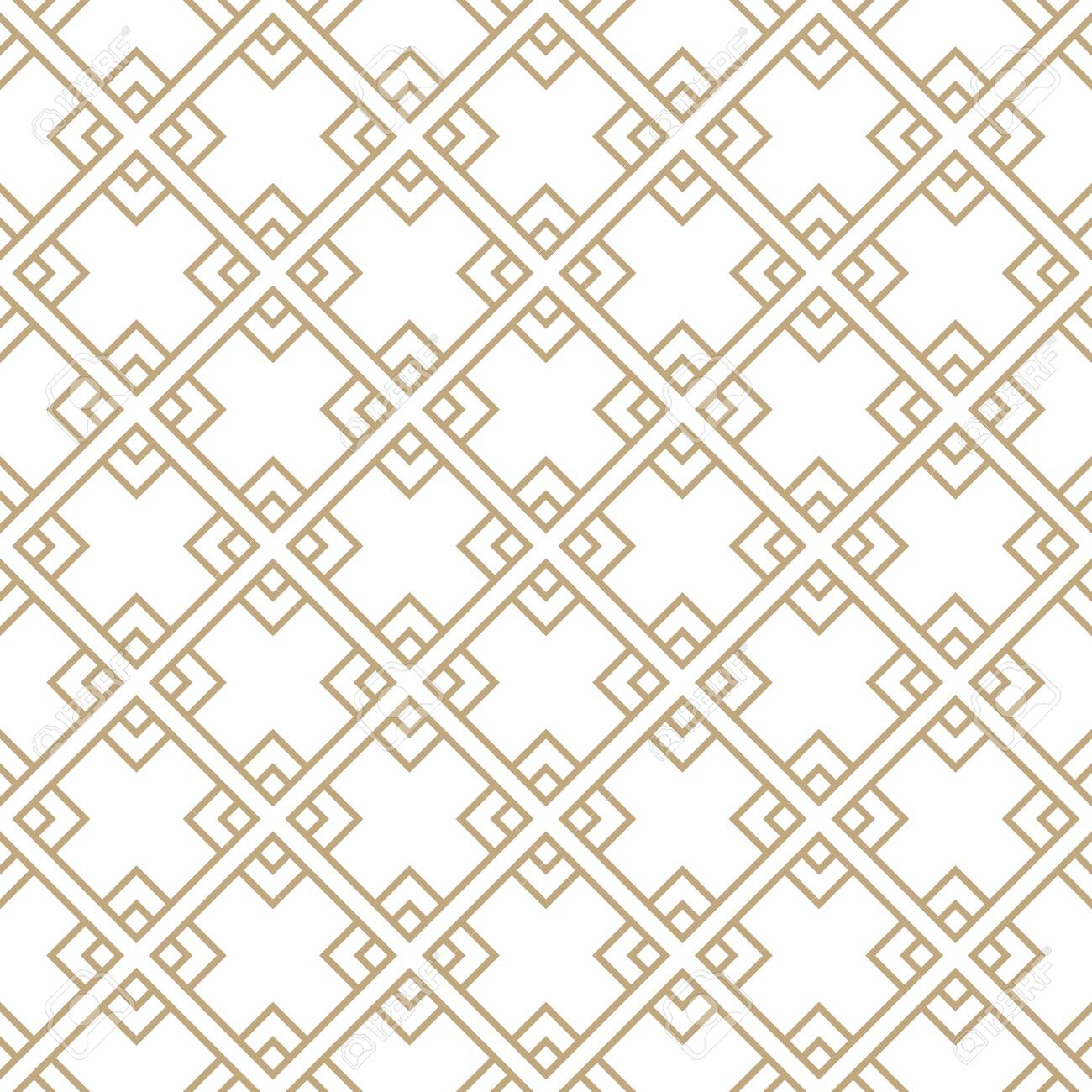 Seamless simple gold geometric pattern. Vector linear modern texture. - 151009456