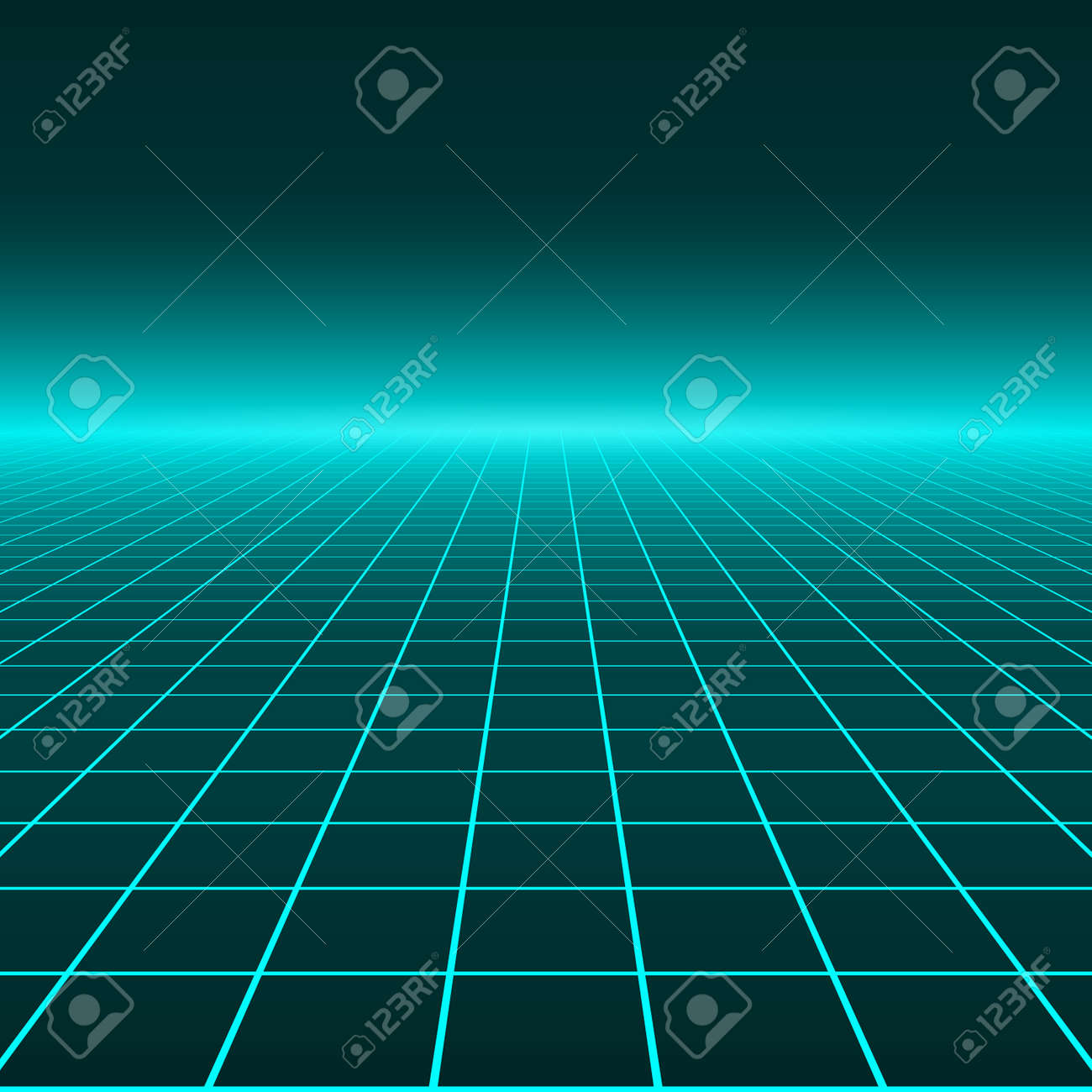 Vector perspective grid. Abstract retro background in 80s style. - 162325443