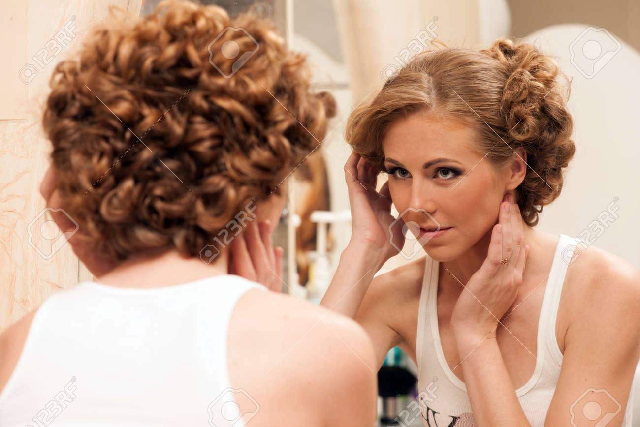 Bridal Preparation Woman With Evening Hairstyle Looking Into Stock