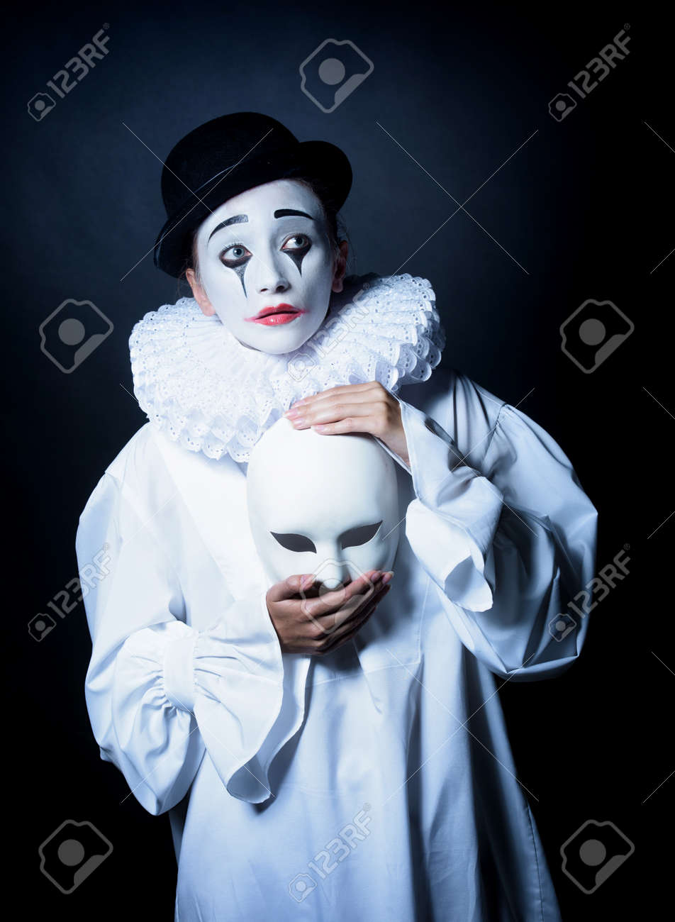 Sad Mime Pierrot With A Mask S...