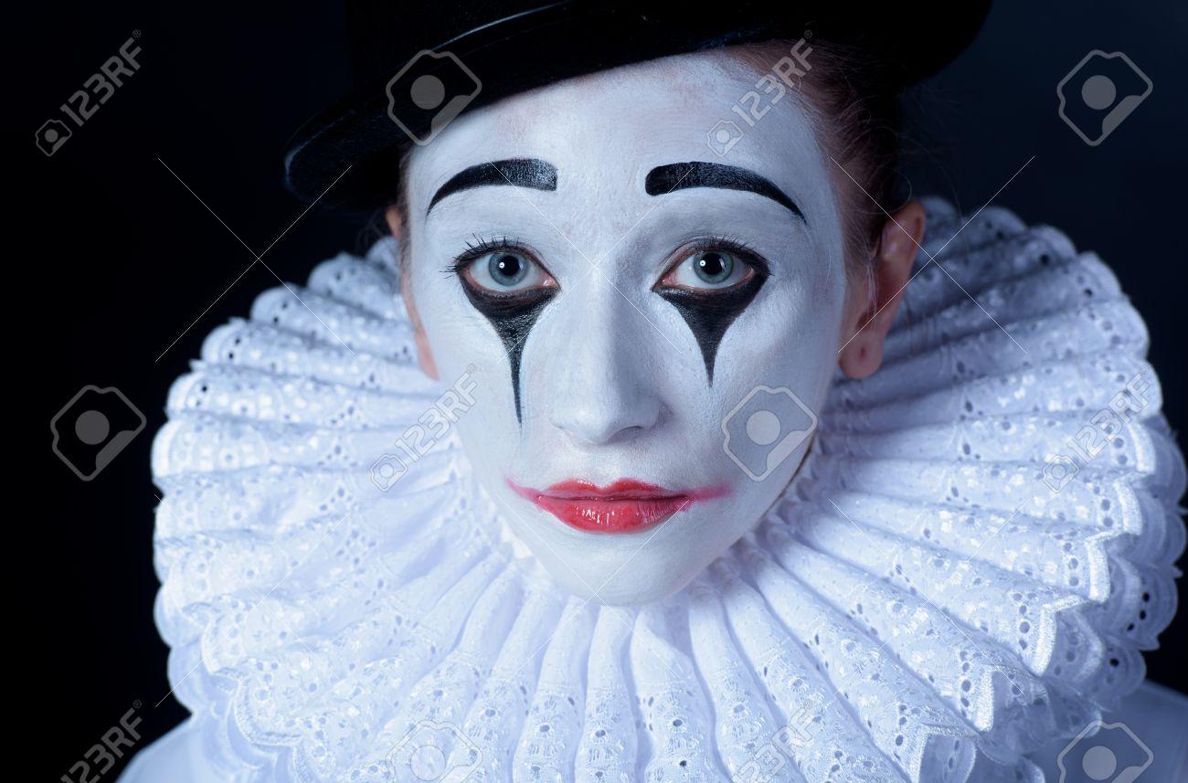 Sad Mime Pierrot, Closeup Port...