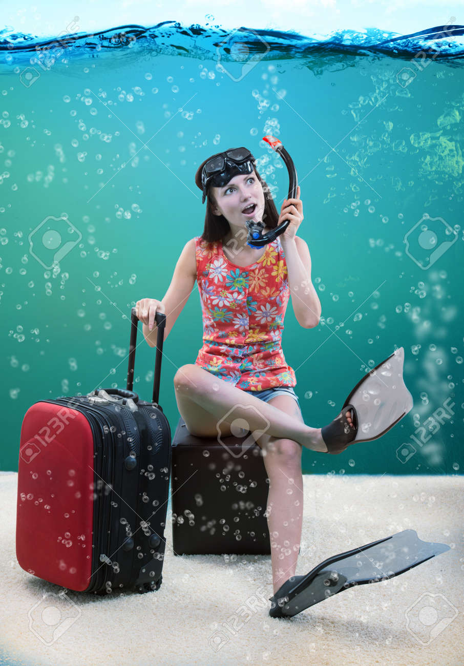 Funny Portrait Of A Girl Going For Snorkeling Vacation Stock Photo