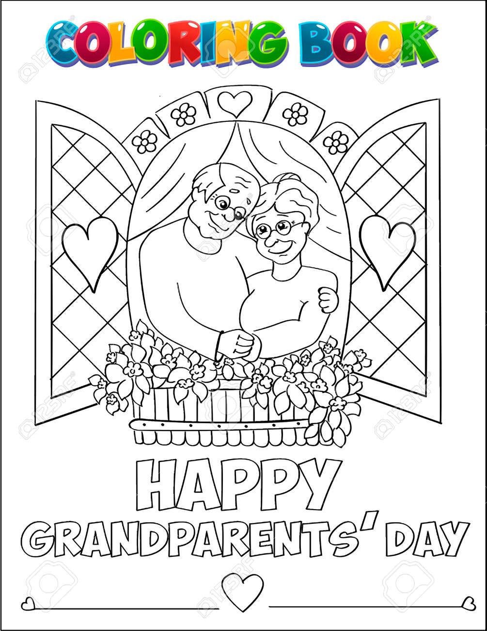 Libro Para Colorear Dibujos Día De Los Abuelos. Ilustraciones ...