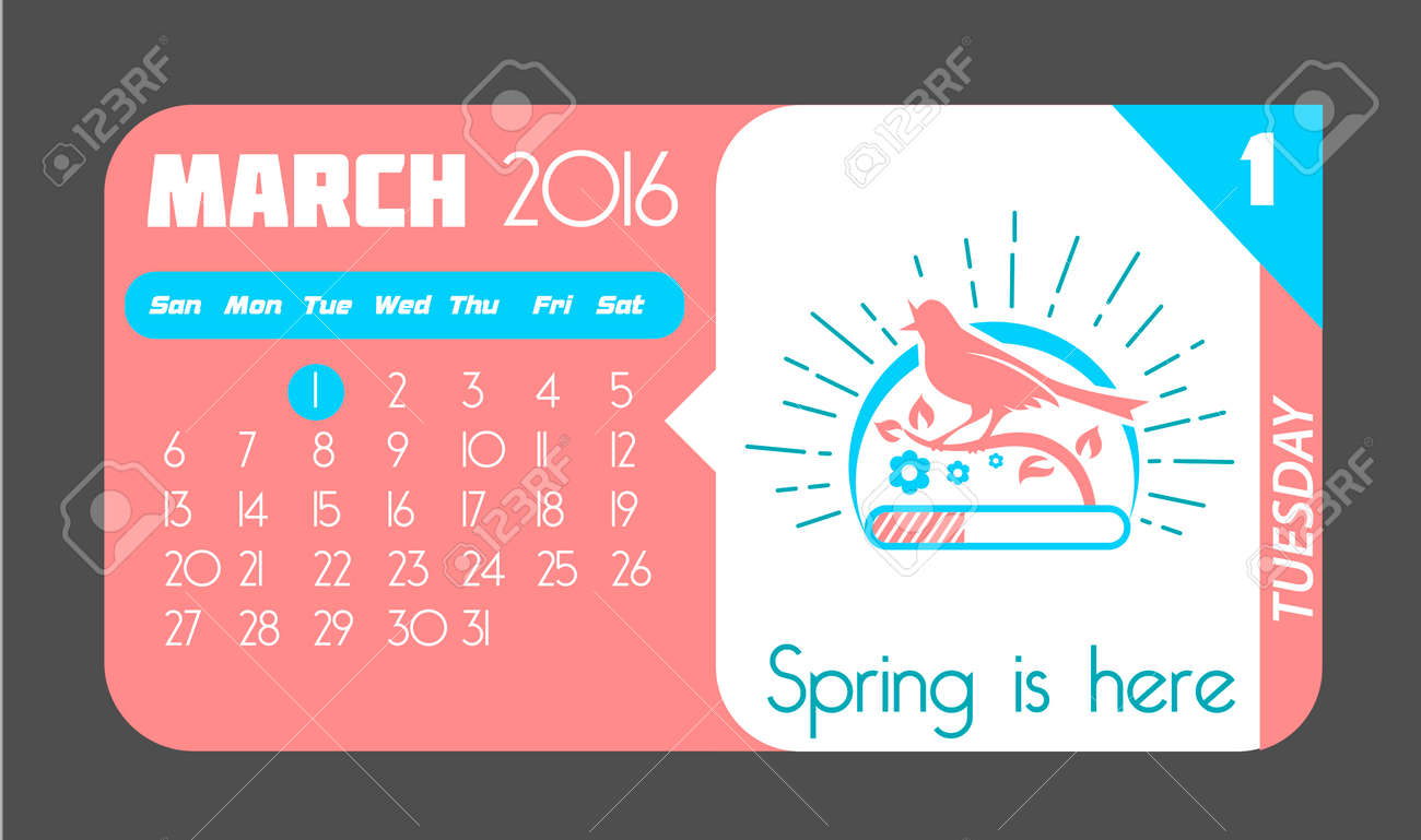 Vettoriale - Calendario Per Ogni Giorno Il 1 ° Marzo Per Le Vacanze - La  Primavera è Arrivata. Nello Stile Di Un Moderno Retrò Image 52480466.