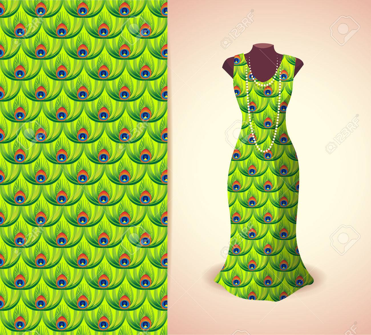 Vector Fashion Illustration Women S Dress On A Dummy Seamless Royalty Free Cliparts Vectors And Stock Illustration Image 59865983