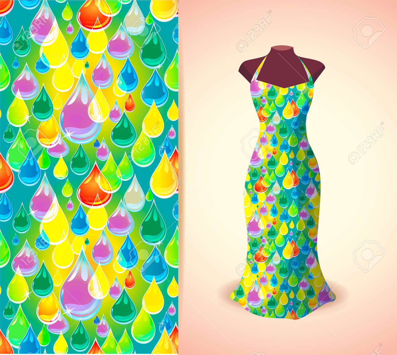 Vector Fashion Illustration Women S Dress On A Dummy Seamless Royalty Free Cliparts Vectors And Stock Illustration Image 59865990