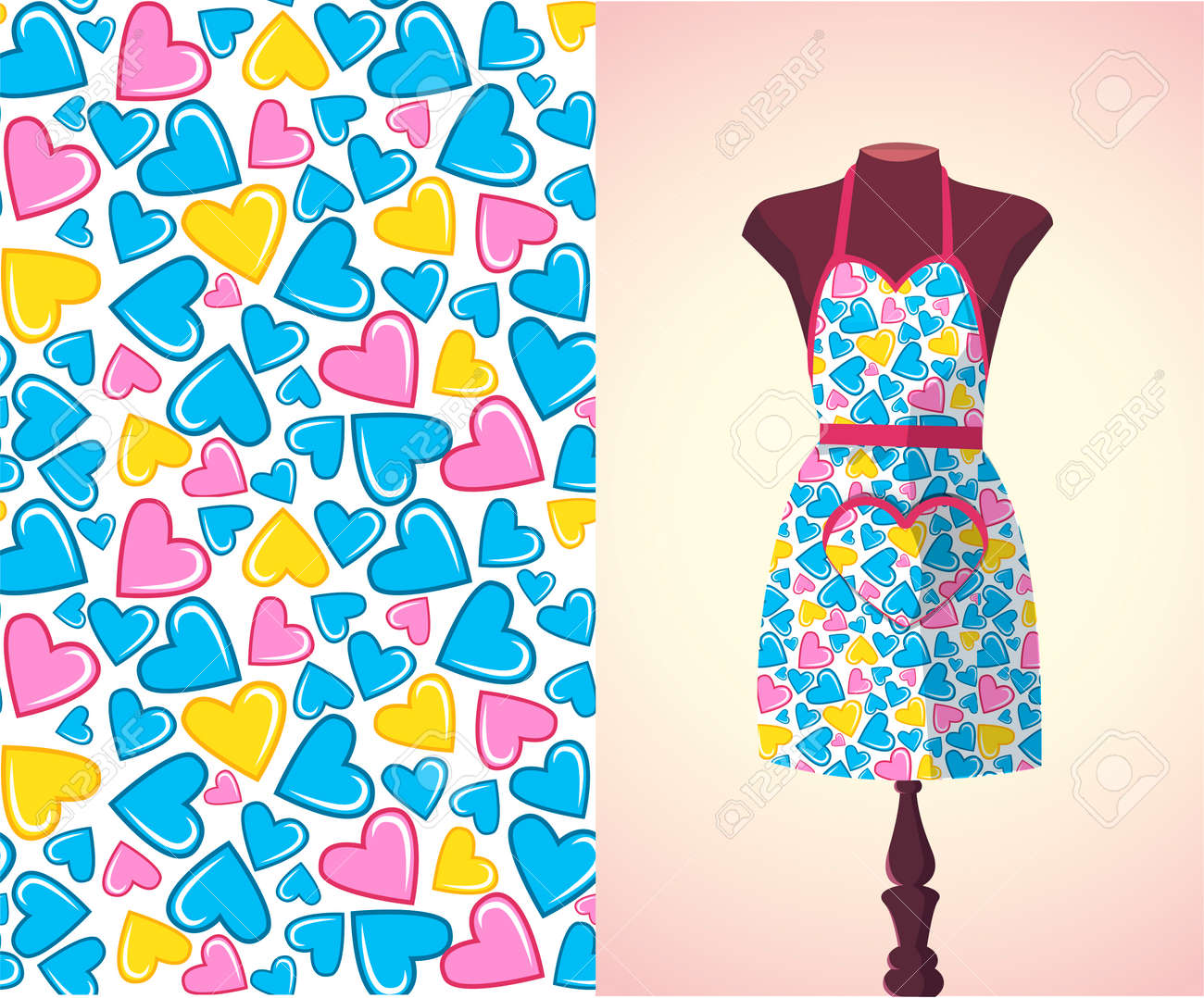 Vector   Vector Fashion Illustration, Womenu0027s Kitchen Apron On A Dummy.  Seamless Vector Background Pattern, Isolated Elements For Invitation Card  Design.