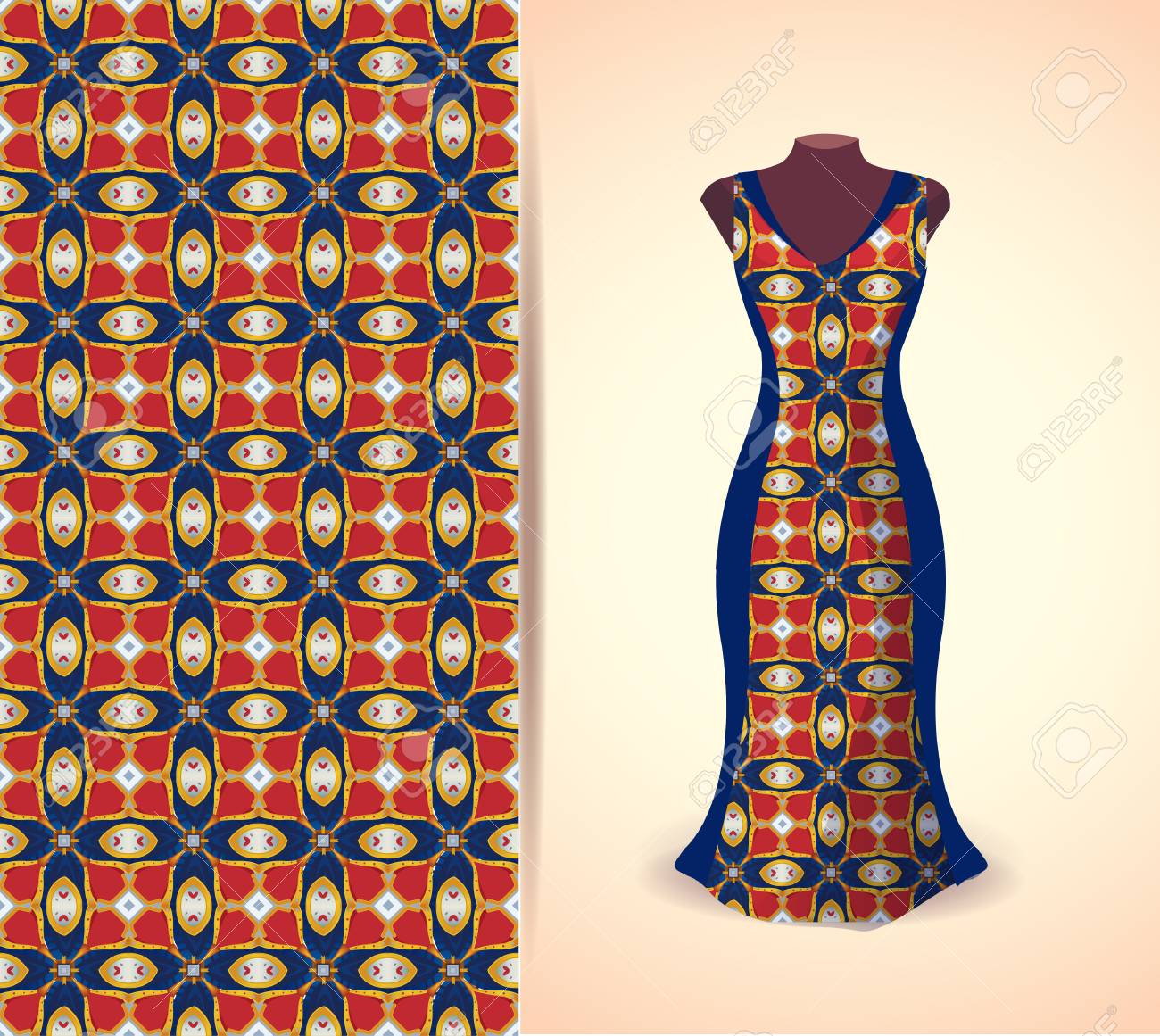 Vector Fashion Illustration Women S Dress On A Dummy Seamless Royalty Free Cliparts Vectors And Stock Illustration Image 59866275