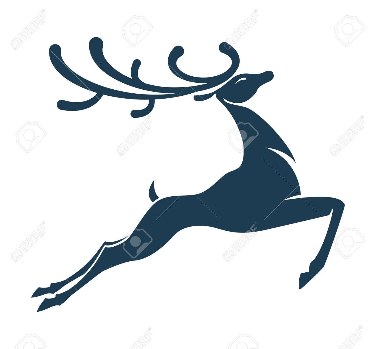 Silueta De Ciervo Navidad O Ano Nuevo Ilustraciones Vectoriales - Ciervo-navidad