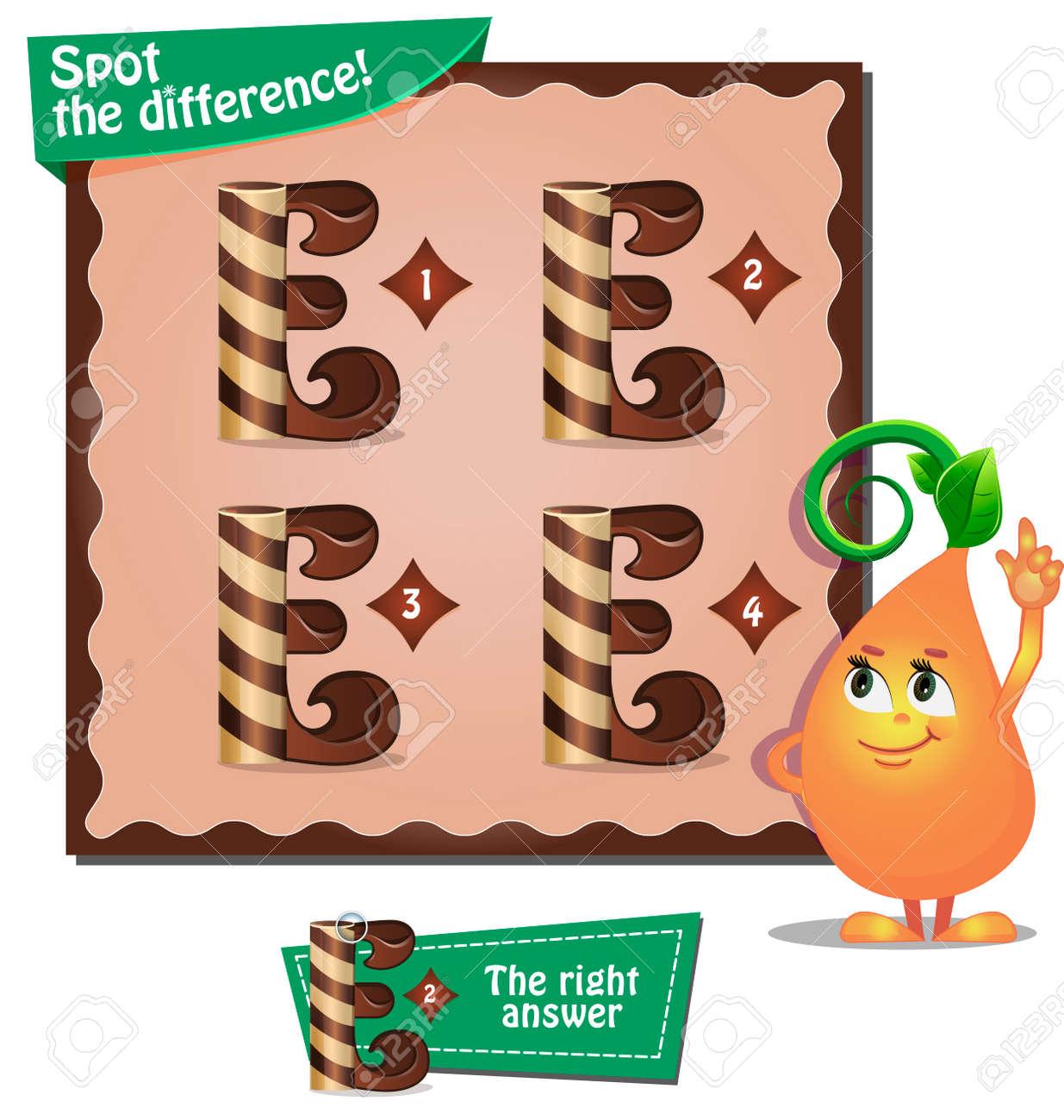 Visuelles Spiel Für Kinder. Aufgabe: Finde Die Differenz Buchstaben ...