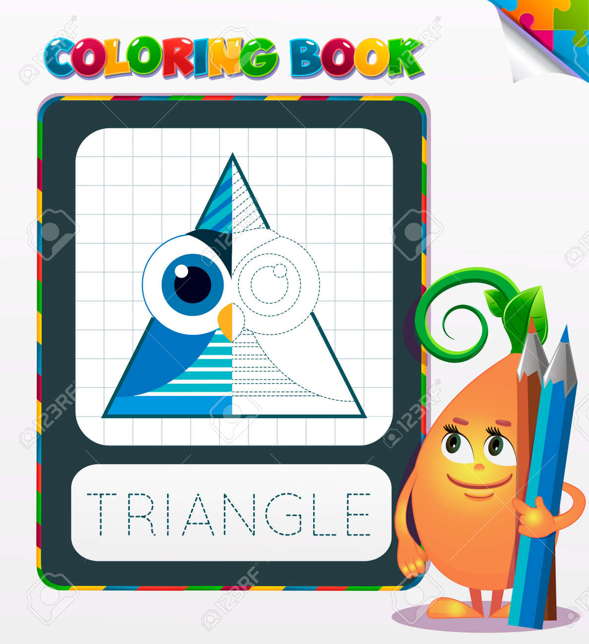 La Mitad De La Forma Geométrica De Color, El Libro Para Colorear ...