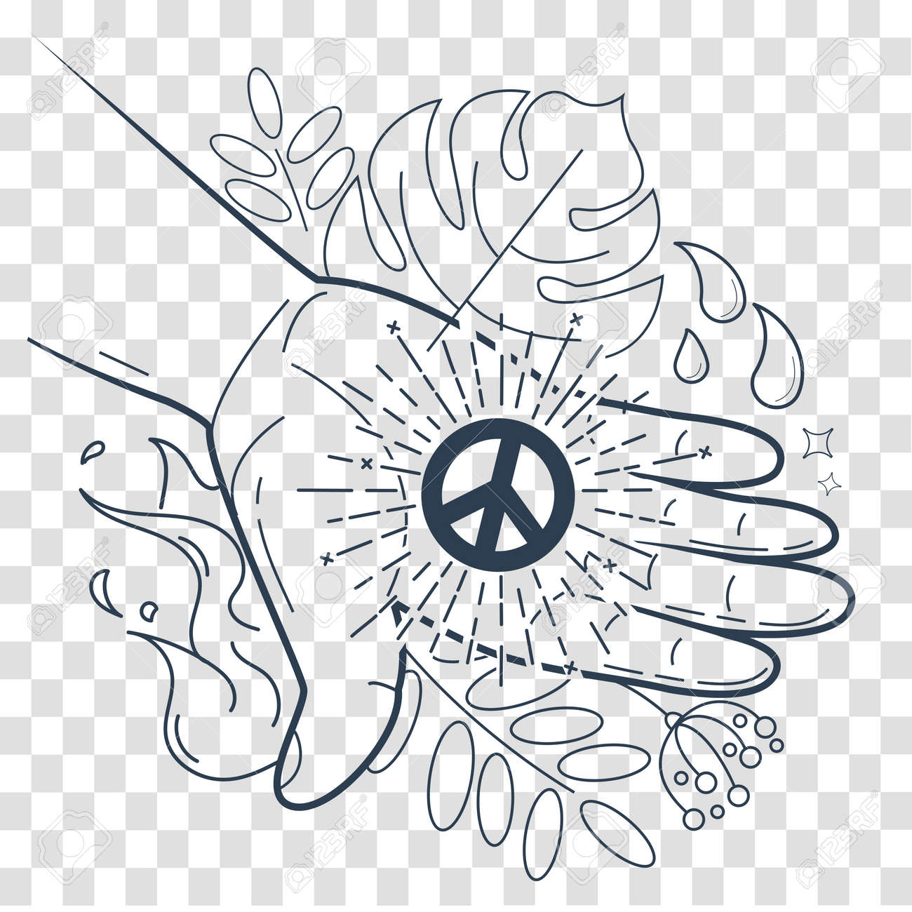 the concept of peace in the form of a hand with the symbol of Modern Technology in the World the concept of peace in the form of a hand with the symbol of peace giving