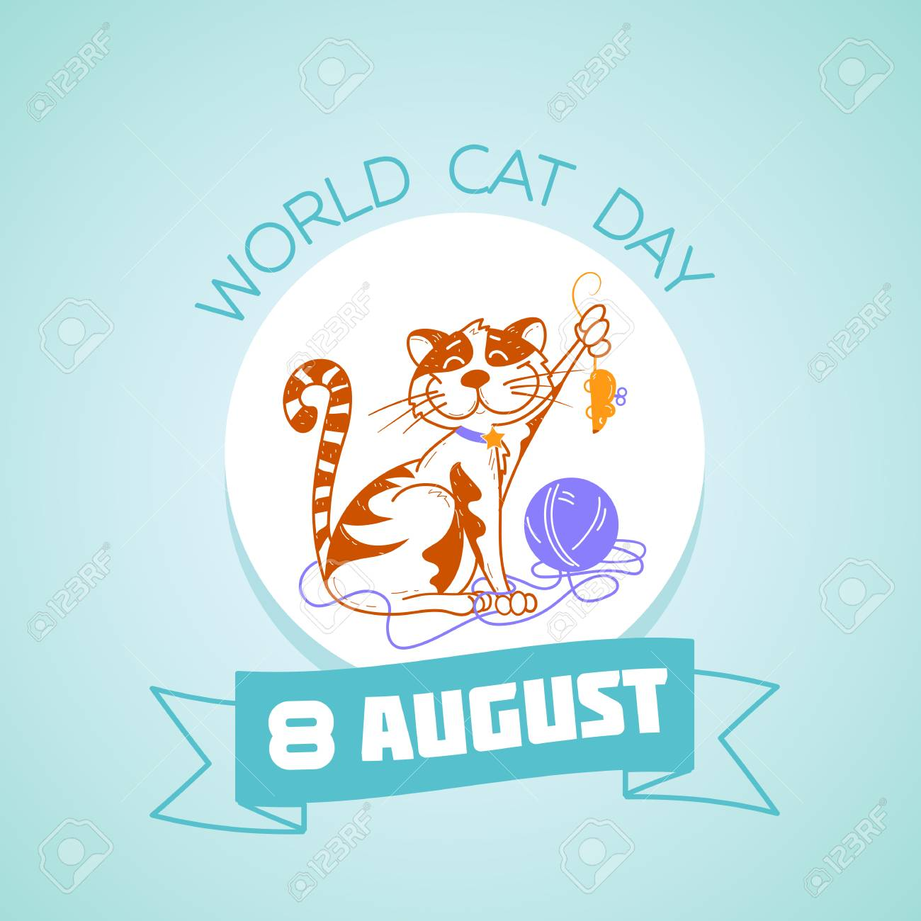 Calendar for each day on 8 august. Greeting card. Holiday - World Cat Day . Icon in the linear style - 82402189