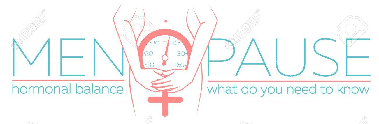 Calendario Menopausa.Concetto Di Menopausa Sotto Forma Di Una Silhouette Di Una Donna Con Un Orologio Che Misura L Eta Banner In Stile Lineare Con L Equilibrio Armonico