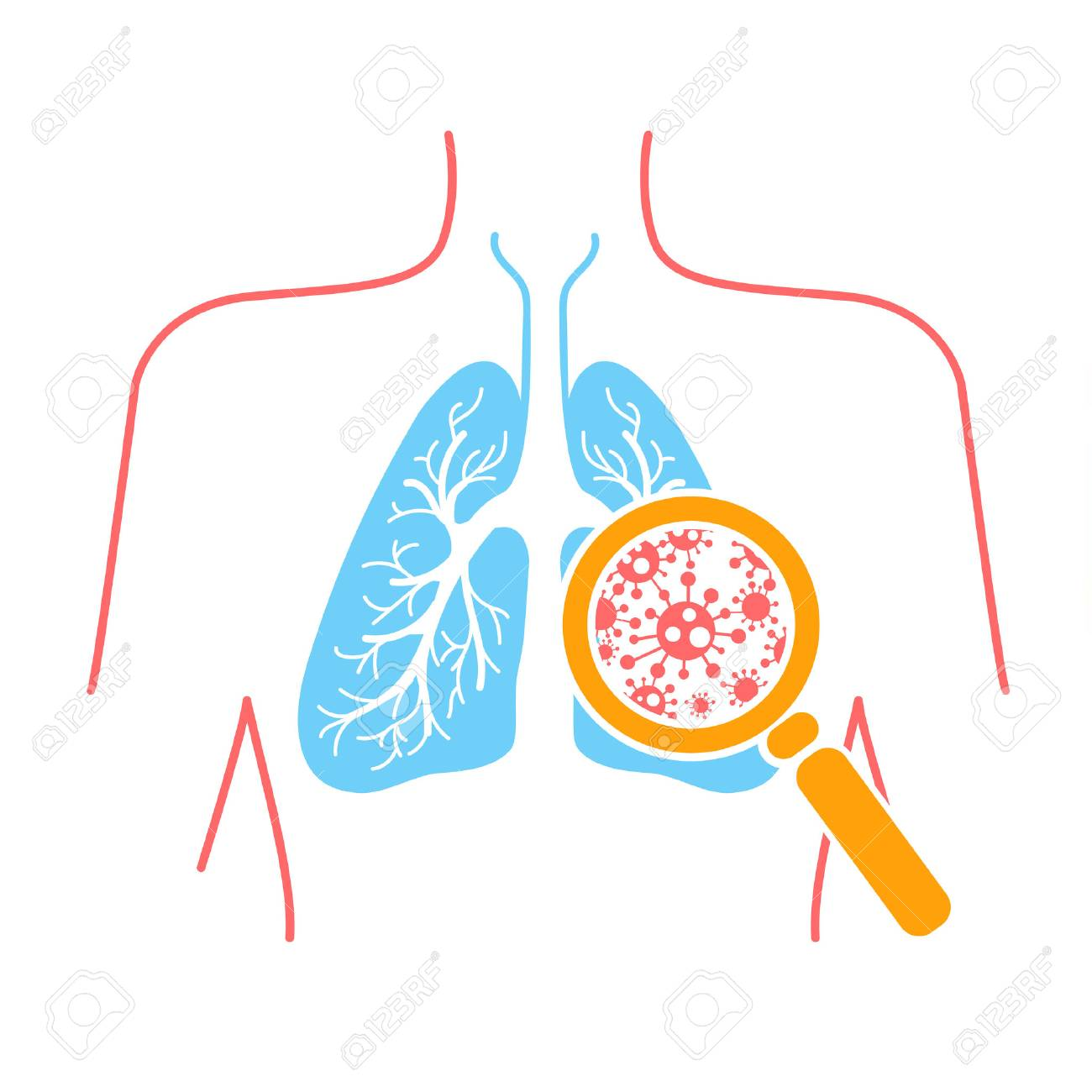 icon of lung disease, pneumonia, asthma, cancer in the form of lung anatomy and viruses causing disease. Icon in linear style - 89339060