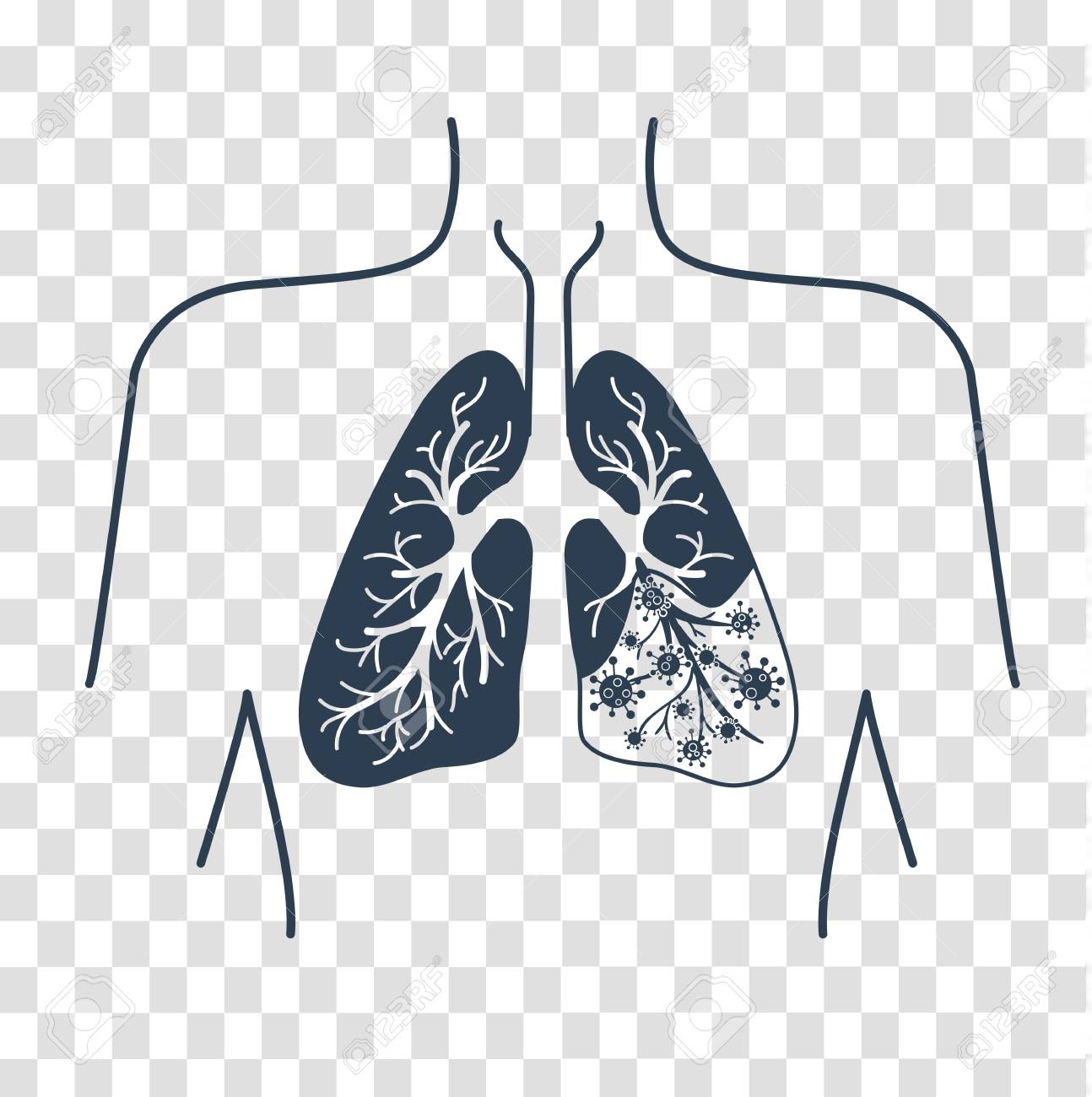 Icon Of Lung Disease, Pneumonia, Asthma, Cancer In The Form Of ...