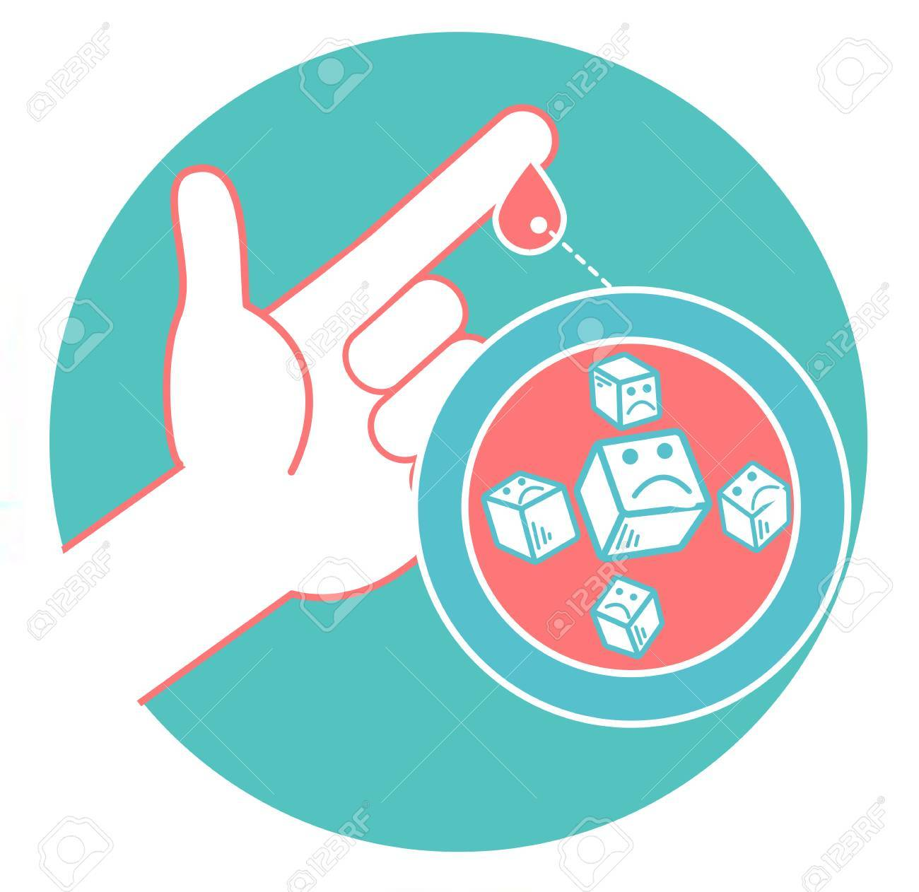 Concept of diabetes in the form of measuring blood sugar from a drop of blood from the finger. Icon in the linear style. - 89498729