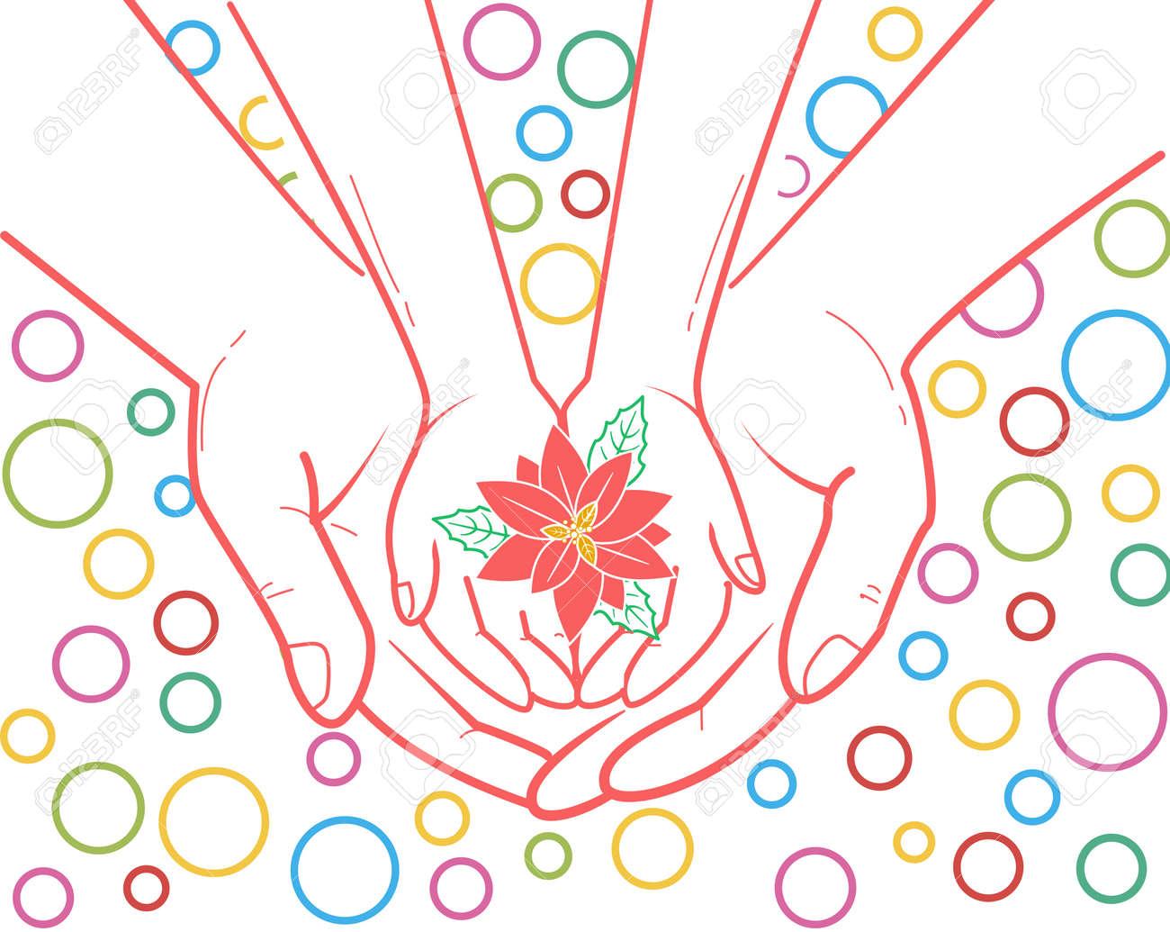 保護彼女の手で子供の手と花を持って大人の手の形で子供の世話の概念